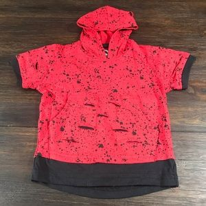 Other - Short Sleeved Hooded Paint Splatter Distressed Tee